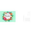 thanks card paper cut floral frame with vector image
