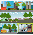 tourist interior concept poster banner set vector image vector image