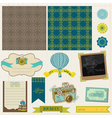 travel set retro design elements vector image vector image