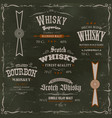 whisky labels and seals on chalkboard background vector image