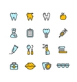 Dental Tooth Doctor Color Icon Set vector image
