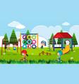 playground scene with happy children at daytime vector image