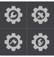 black tools in gear icons set vector image vector image