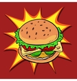 Burger fast food retro pop art vector image vector image