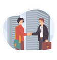 business partners shaking hands on meeting vector image vector image