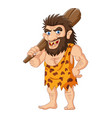 cartoon caveman holding a club vector image vector image