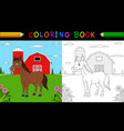 cartoon horse coloring book vector image vector image