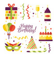 cartoon set of birthday party items decorations vector image vector image