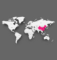 china pink highlighted in map of world light grey vector image vector image
