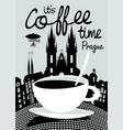 coffee banner on background of prague landscape vector image vector image