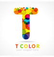 colored t logo concept vector image vector image