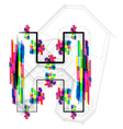 Colorful Font Letter H vector image vector image