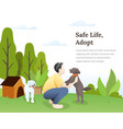 dog lover with his pets concept vector image