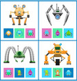 droids four colorful posters vector image vector image