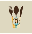 fork spoon and knife woman icon vector image