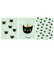 funny hand drawn black cat set vector image