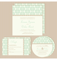 green vintage wedding invitations set vector image vector image