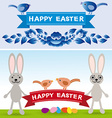 Happy Easter Rabbit eggs flowers ribbons vector image vector image