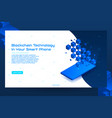 isometric blockchain technology banner concept vector image vector image