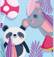 little panda and koala cartoon character forest vector image