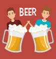 men with beers drink vector image