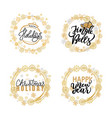 merry christmas festive greeting calligraphic vector image vector image