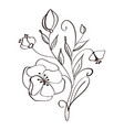 modern flowers drawing and sketch floral with line vector image