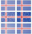 Mosaic Iceland flag set vector image vector image