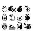 Peach apricot fruit icons set