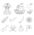 pirate sea robber outline icons in set collection vector image