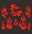 red fire old school flame elements vector image vector image