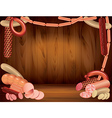 sausages wood background vector image