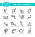 Set line icons of garden equipment vector image