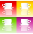 Set of coffee cups on colored backgrounds vector image