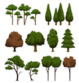 Set of trees for landscape on white background vector image