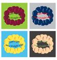 set of vegetarian logo template design food logo vector image vector image