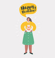 smiling woman having a birthday party with cake vector image
