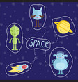 space cartoon style icons set vector image