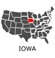 state iowa on map usa vector image vector image