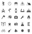 Trekking icons on white background vector image vector image