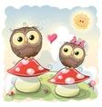 Two cartoon owls vector image vector image