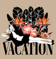 vacation hand drawn young lady vector image