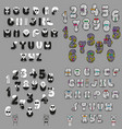 vintage alphabets with tiies and buttons vector image