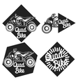 Vintage quad bike emblems vector image