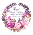 Vintage wedding card with roses wreath