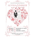 Wedding invitation with heart compositionWedding vector image vector image