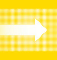 white arrow defined small yellow dots vector image