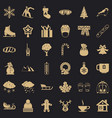 winter mitten icons set simple style vector image vector image