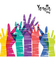 youth day card of diverse people group hands vector image vector image