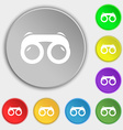 binoculars icon sign Symbol on eight flat buttons vector image